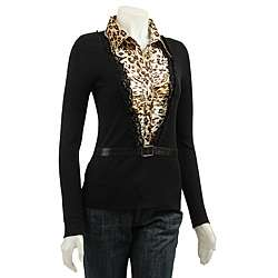 Dolce Cabo Womens Duet Silky Leopard Print Shirt