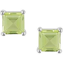 14k White Gold Square Peridot Stud Earrings