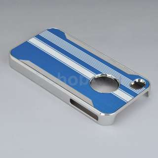 Blue Chrome Luxury Steel Skin Cover Case+Stylus Pen+Screen Film