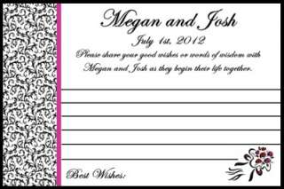 40 Personalized Damask Wedding Day Advice Cards