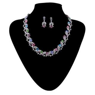 Fashion Jewelry Set,Colorful Swarovski Crystal Flora Necklace Earrings