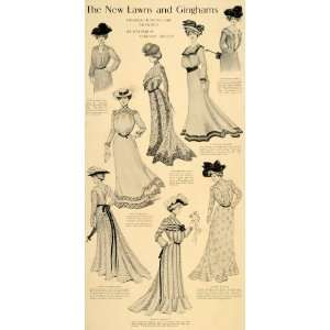 1901 Print Lawn Gingham Gown Dress Costume Holden