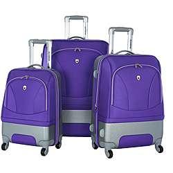 Majestic Hybrid Plum 3 piece Spinner Luggage Set