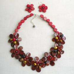 Multi gemstone and Pearl Red Flower Jewelry Set (10 12 mm) (Thailand