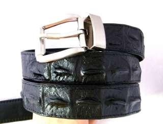 CUSTOM BLACK CROCODILE HORNBACK LEATHER DRESS MENS BELT 1.3 WIDTH Size