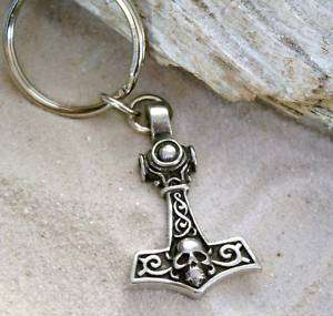 THORS HAMMER MJOLNIR SKULL Pewter KEY CHAIN Key Ring