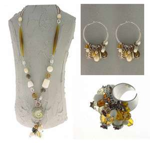 Authentic Italian Made Fashion Costume Jewelry Set Necklace, Earrings