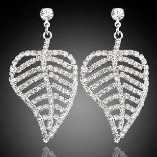 Silver tone Stud Earrings,Sparkle Swarovski Crystal Leaf Drop