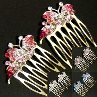 2pc Austrian rhinestone crystal butterfly hair comb pin