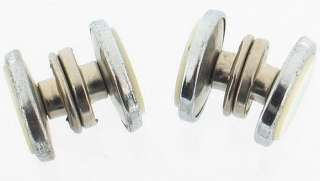 ANTIQUE SILVER TONE MOTHER OF PEARL SNAP CUFFLINKS