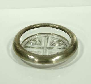 TAUNTON STERLING SILVER RIM WINE BOTTLE GLASS COASTER PIN ASHTRAY