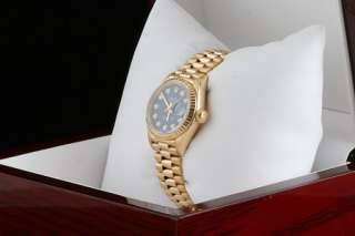 Ladies Rolex 18K Blue Diamond Dial President 69178