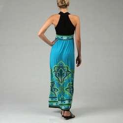 London Times Womens Border Print Maxi Halter Dress