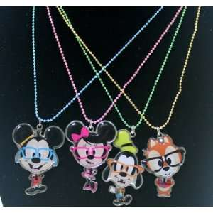 Disney Mickey & Friends Nerd Charm Necklaces Set of 4   Disney Parks