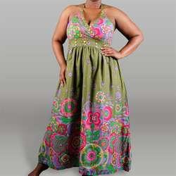 Meetu Magic Womens Plus Size Border Print Maxi Dress  Overstock