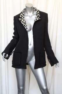 +Fringe Trim Blazer Jacket Coat +Graphic Pyramid Knit Lining M