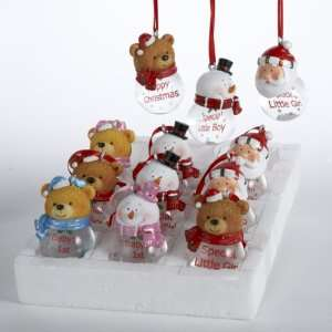 of 12 Water Ball Santa Claus, Teddy Bear & Snowman Christmas Ornaments