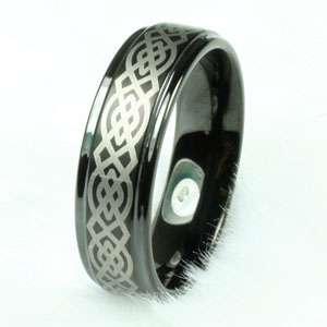 Step edge Celtic Mens Tungsten Carbide wedding band Anniversary ring
