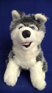 Stuffed Plush Animal Grey White Siberian Husky Dog EUC
