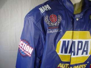 NAPA Blue LEATHER Racing Jacket Small / Hornaday NASCAR