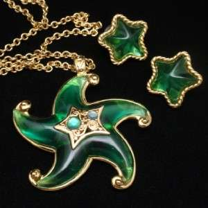 Starfish Set Vintage Necklace Earrings Trifari Lucite Green Sea Star