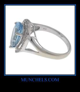 LADIES 14K WHITE GOLD SWISS BLUE TOPAZ & DIAMOND RING