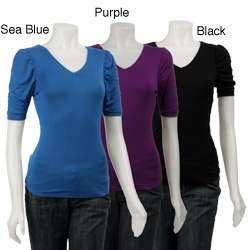 Ninety Womens Ruched Puff sleeve T shirt