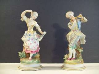 PORCELAIN FIGURINE COUPLE MAN PLAYING FLUTE WOMAN DANCING