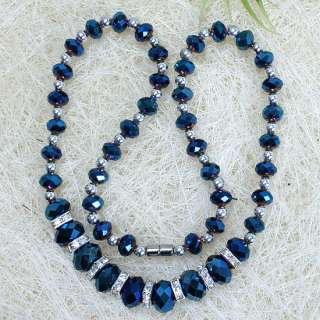 AB Blue Crystal Glass Faceted Beads Jewelry Necklace