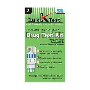 Quicktest 3 Panel Urine Drug Test Kit (THC, COC, mAMP