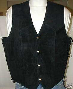 MENS SUEDE BLACK LEATHER MOTORCYCLE VEST CLOSEOUT SALE