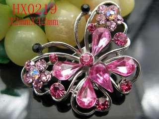 Stunning Pink Butterfly Rhinestone Crystal Brooch HX0219