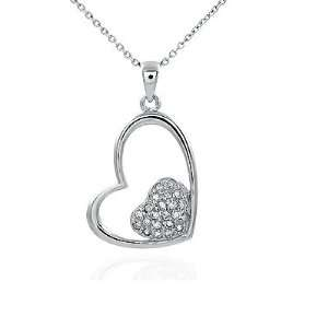 Lovely Two Heart Shape Pendants Connected as One, Pave Setting on the