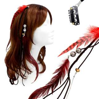 Feather Beaded Hair Extension Mini Hair Clip Comb Leather Cord Brown