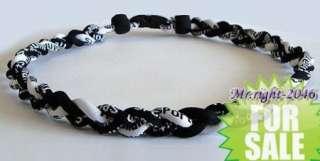 Hot 2012 Ionic Titanium Baseball Sports Tornado Necklace Black&White