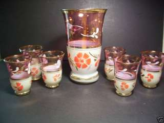 vtg PITCHER & 6 GLASSES RUBY FLASH AND FROSTED & FLOWER