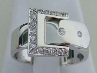 18k. White Gold Diamond Belt Buckle Ring, New