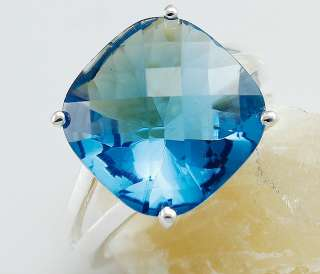 Huge Square London Blue Topaz 925.Sterling Silver Ring 8#