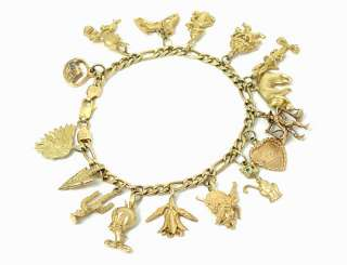 CUTE VINTAGE 14K YELLOW GOLD LOONEY TUNES 16 CHARMS BRACELET