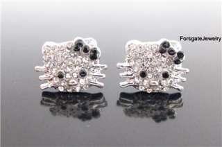 HELLO KITTY * Crystal Stud Earrings W/ BLACK BOW_72B