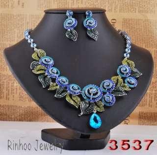 Coquettish Necklace Earring 1Set Jewelry Czech Rhinestone Vortex/Leaf