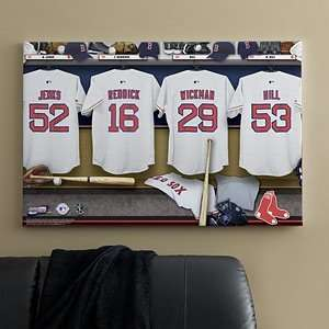 Personalized MLB Baseball Locker Room Canvas   Boston Red