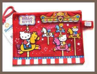Hello Kitty Red Merry Go Round Mesh Zip Bag