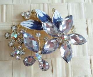 BIG SWAROVSKI CRYSTAL GOLDEN FLOWER BUTTERFLY PIN BROOCH 1109