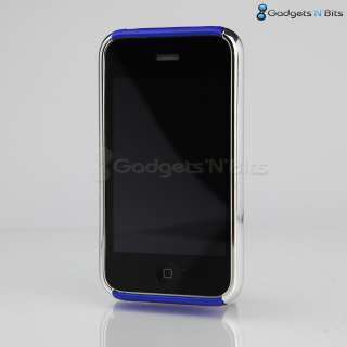 Stylish Blue / CHROME Dual Hard Case Cover Bumper for Apple iPhone 3GS