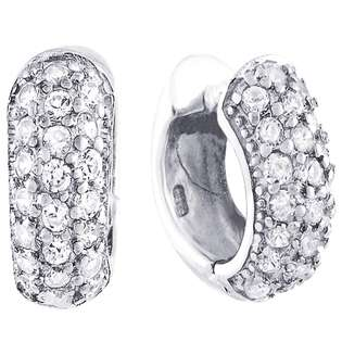 14K White Gold Plated Sterling Silver 18mm Huggie Hoop CZ Earrings For