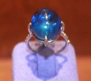 22.38ct Natural Cabochon Blue Sapphire Ring House of Taylor Jewelry