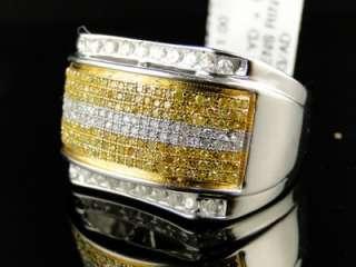 WHITE GOLD PINKY FASHION BAND GENUINE CANARY WHITE DIAMOND RING 1.0 CT