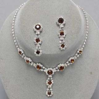Silver Smoked Topaz Rhinestone Earrings Necklace Set