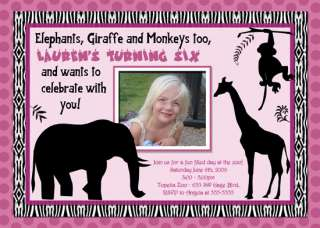 JUNGLE ZOO ANIMALS CUSTOM BIRTHDAY INVITATIONS